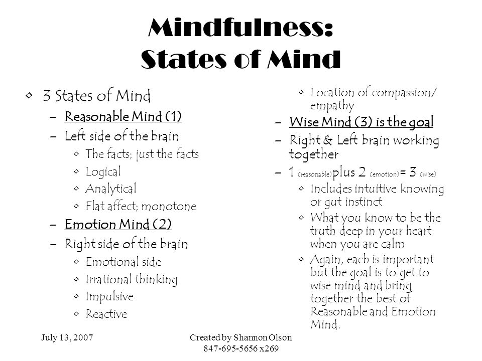 Mindfulness: States of Mind