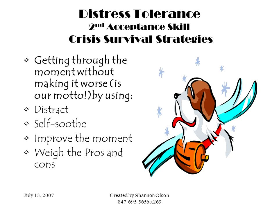 Distress Tolerance 2nd Acceptance Skill Crisis Survival Strategies