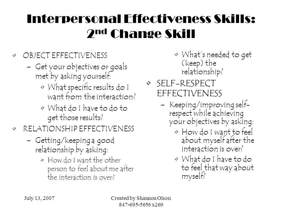 Interpersonal Effectiveness Skills: 2nd Change Skill