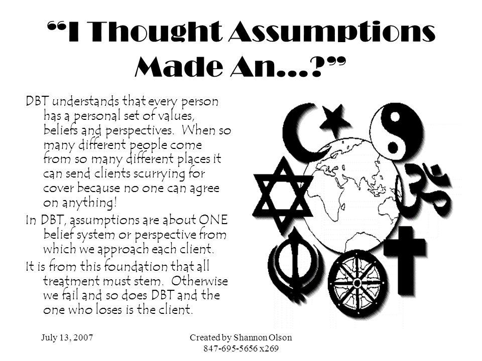I Thought Assumptions Made An…