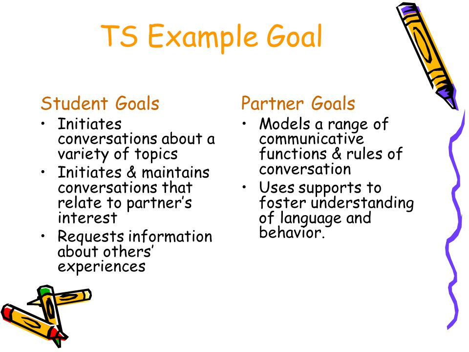 TS Example Goal Student Goals Partner Goals
