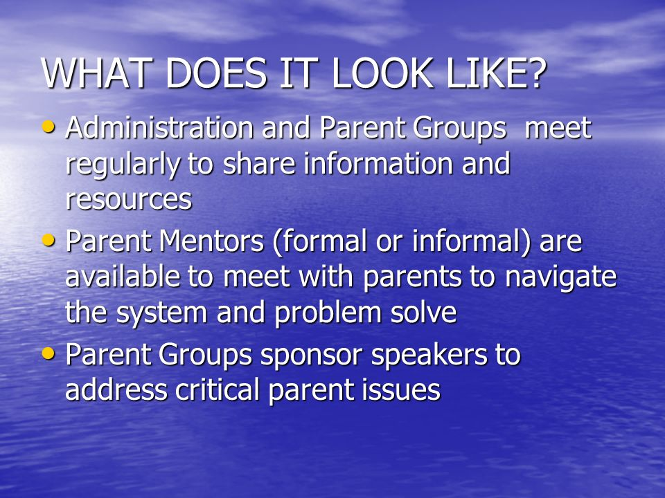 WHAT DOES IT LOOK LIKE Administration and Parent Groups meet regularly to share information and resources.