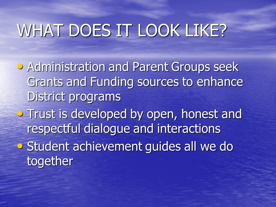 WHAT DOES IT LOOK LIKE Administration and Parent Groups seek Grants and Funding sources to enhance District programs.