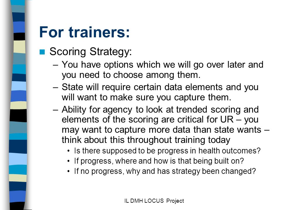 For trainers: Scoring Strategy: