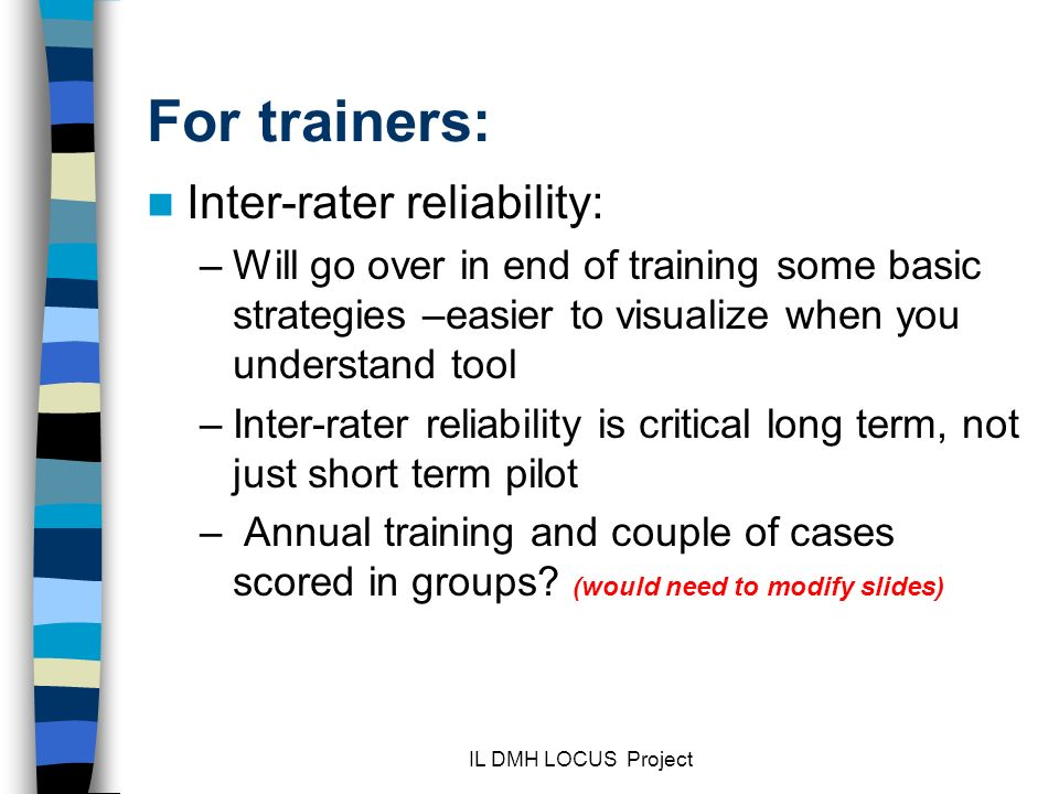 For trainers: Inter-rater reliability: