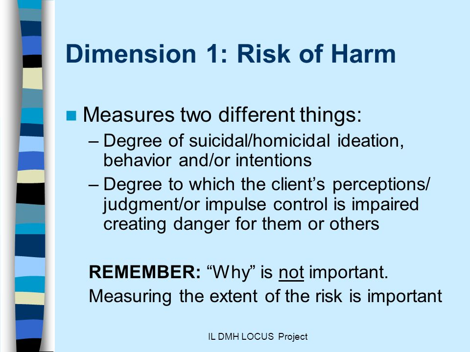 Dimension 1: Risk of Harm