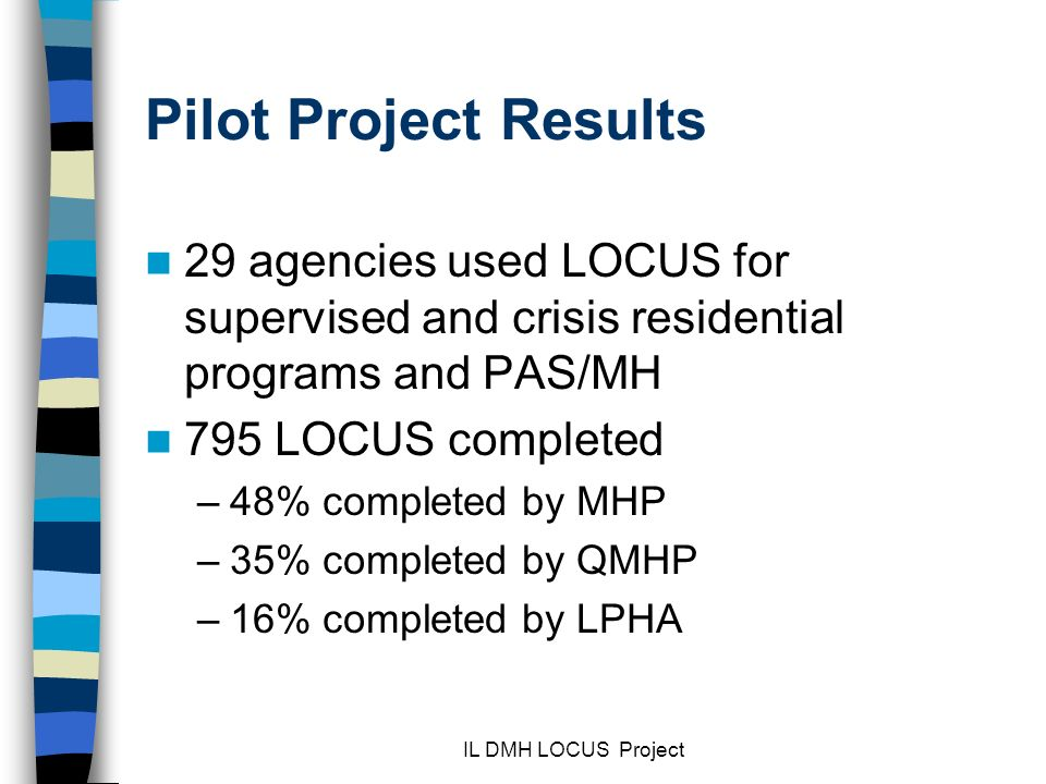 Pilot Project Results 29 agencies used LOCUS for supervised and crisis residential programs and PAS/MH.