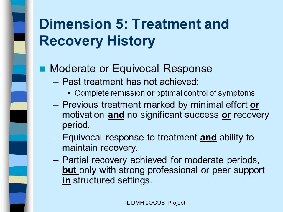 Dimension 5: Treatment and Recovery History