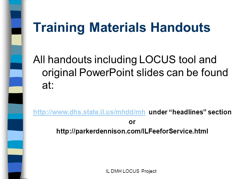 Training Materials Handouts