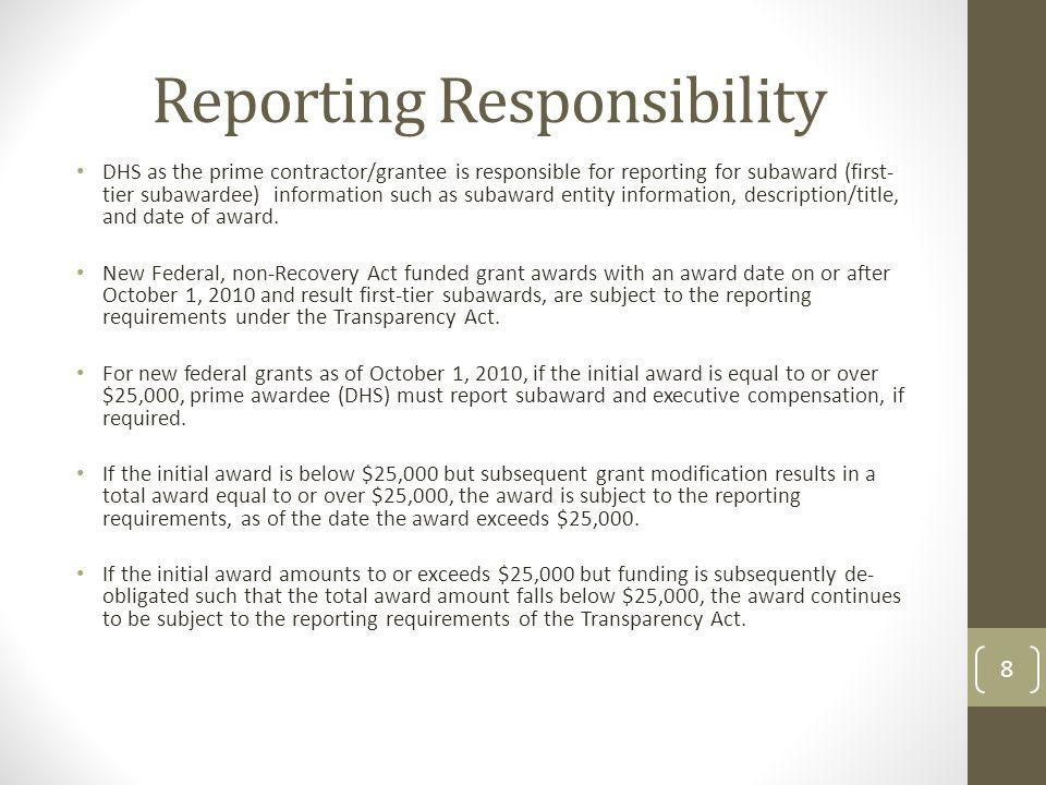 Reporting Responsibility