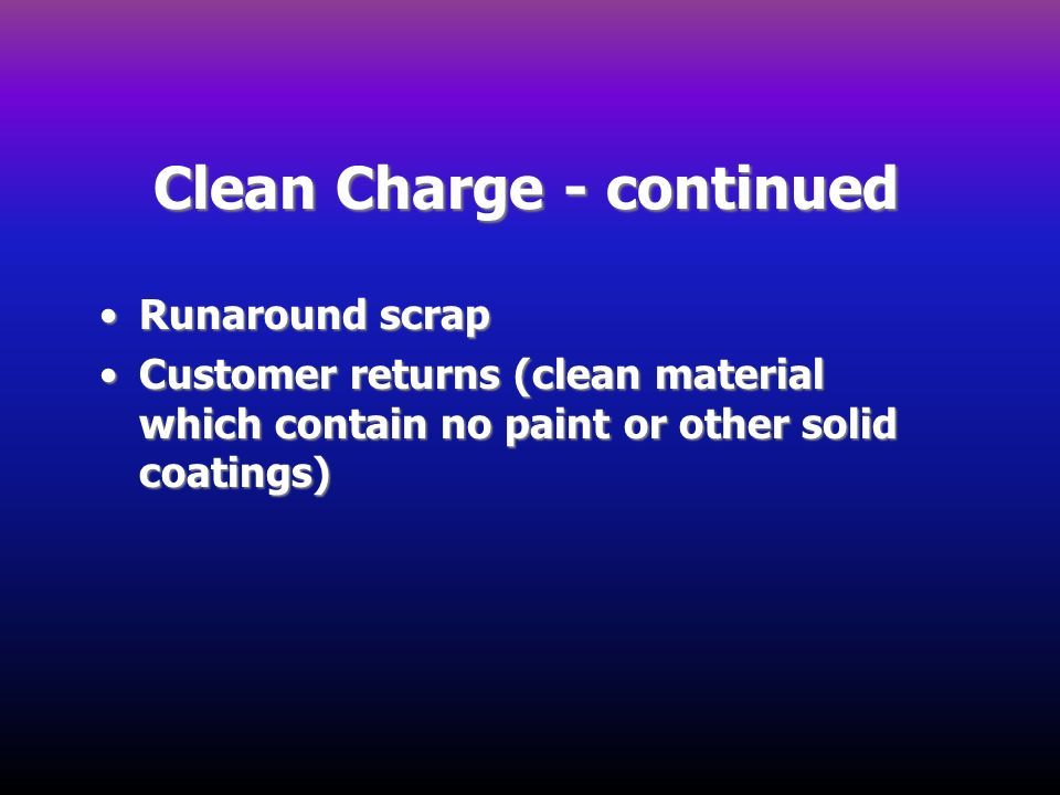 Clean Charge - continued