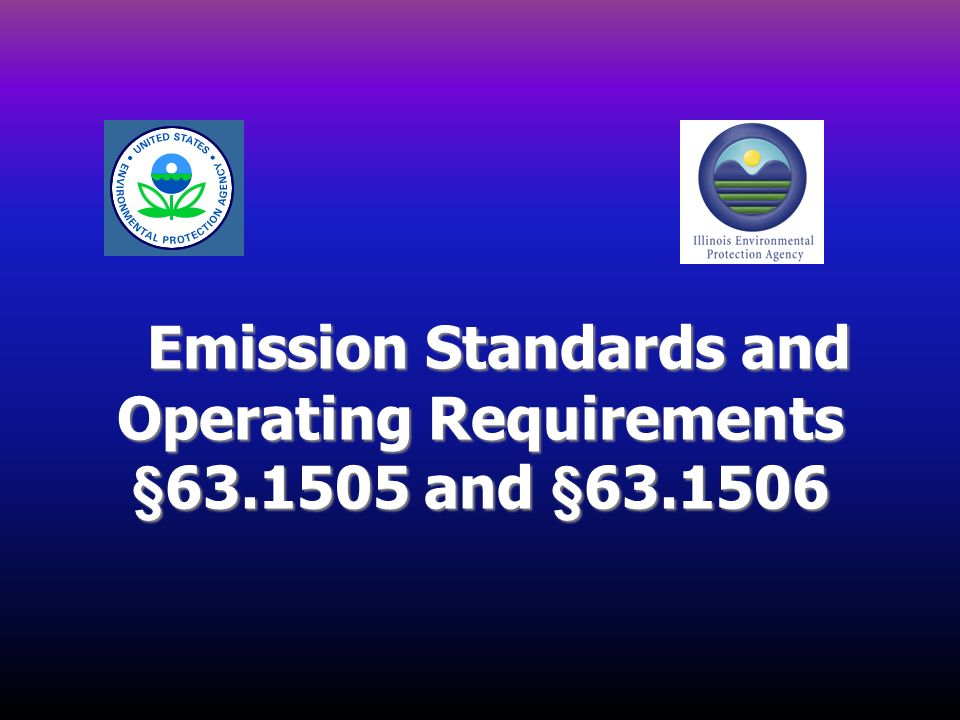 Emission Standards and Operating Requirements §63.1505 and §63.1506