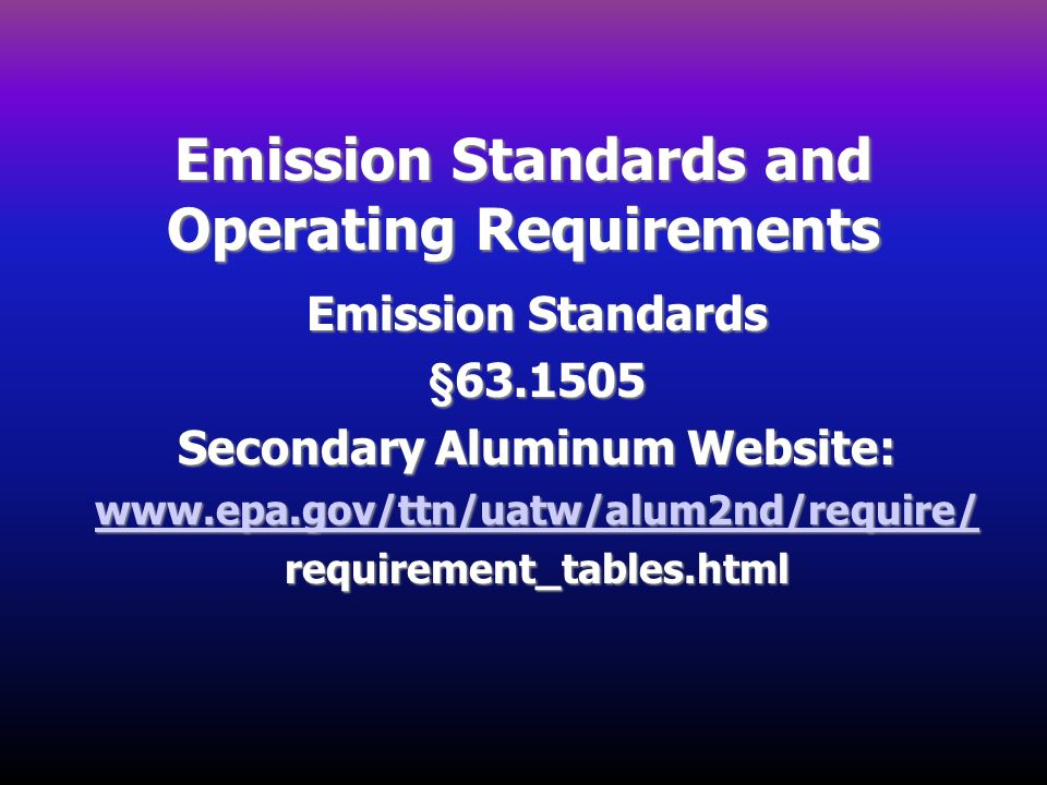Emission Standards and Operating Requirements