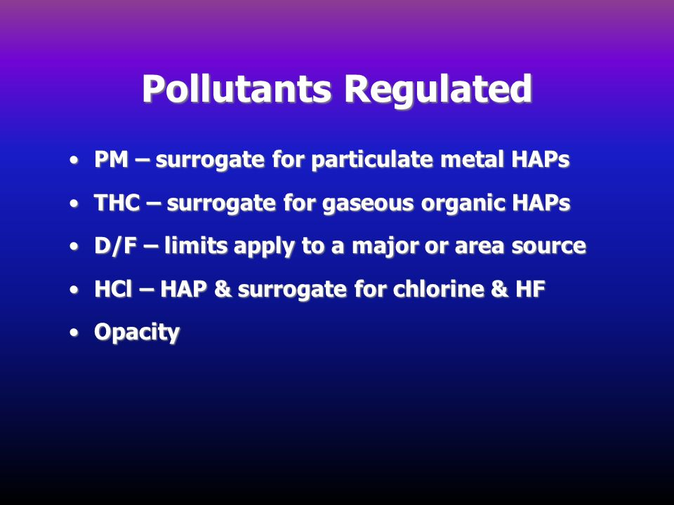 Pollutants Regulated PM – surrogate for particulate metal HAPs