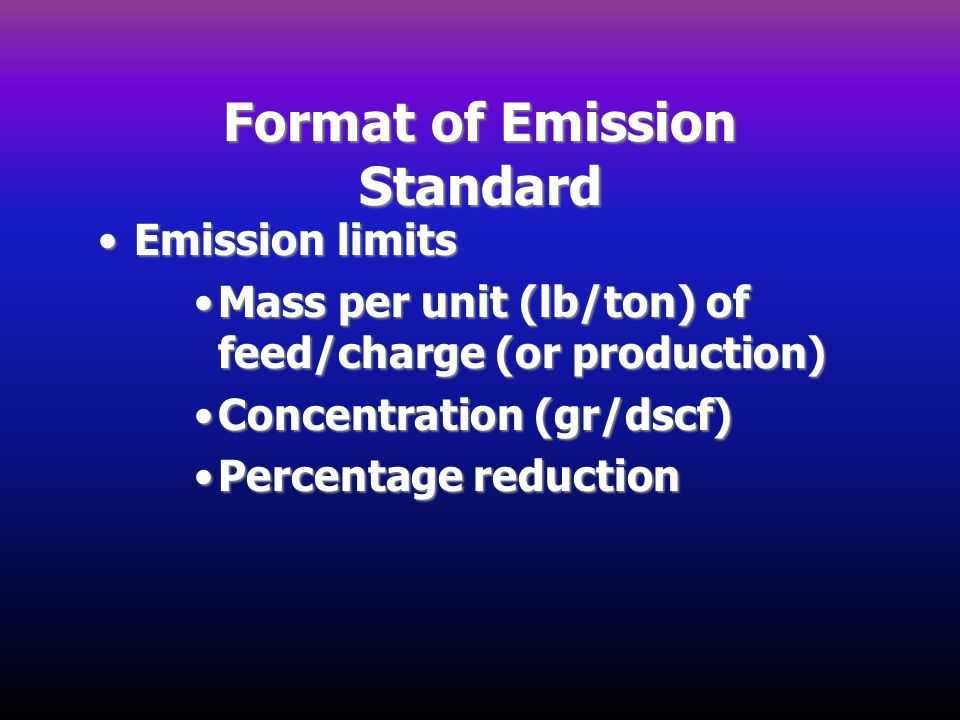 Format of Emission Standard