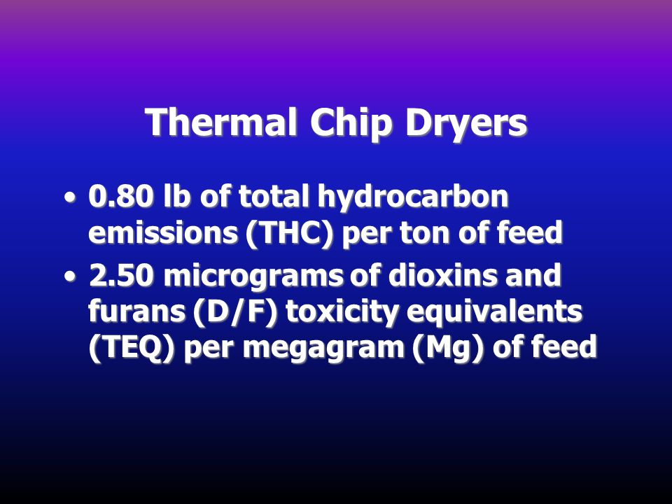 Thermal Chip Dryers 0.80 lb of total hydrocarbon emissions (THC) per ton of feed.