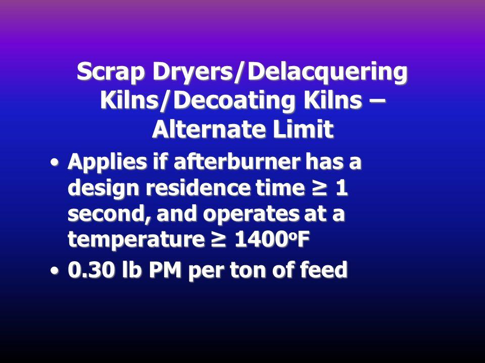 Scrap Dryers/Delacquering Kilns/Decoating Kilns – Alternate Limit