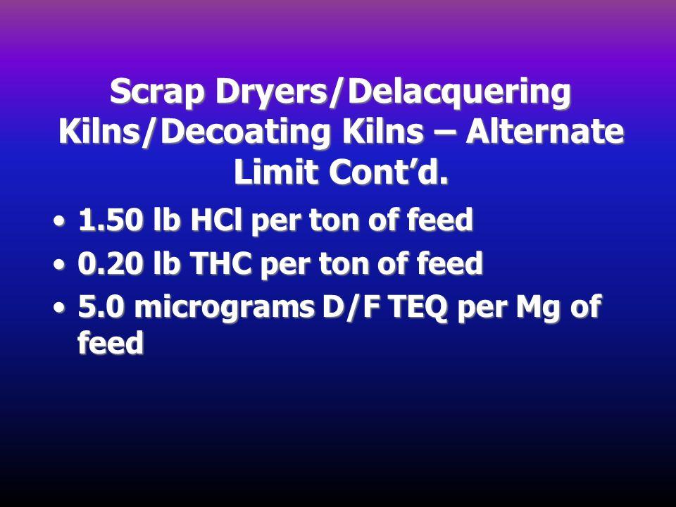 Scrap Dryers/Delacquering Kilns/Decoating Kilns – Alternate Limit Cont'd.