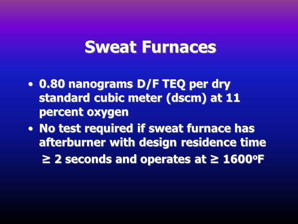 Sweat Furnaces 0.80 nanograms D/F TEQ per dry standard cubic meter (dscm) at 11 percent oxygen.