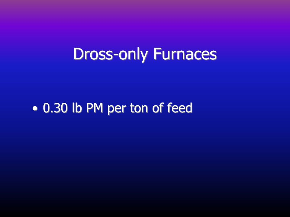 Dross-only Furnaces 0.30 lb PM per ton of feed