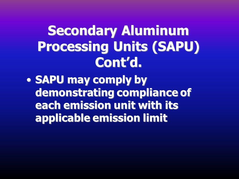 Secondary Aluminum Processing Units (SAPU) Cont'd.