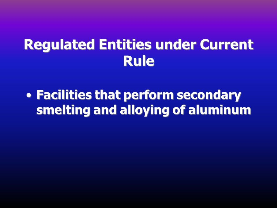 Regulated Entities under Current Rule