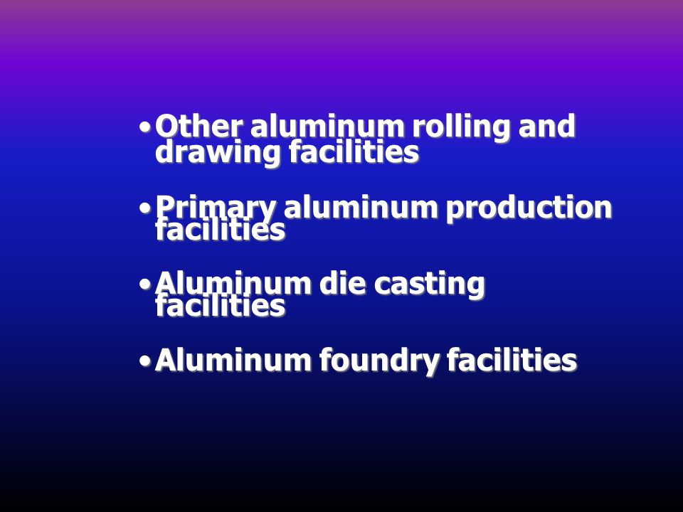 Other aluminum rolling and drawing facilities