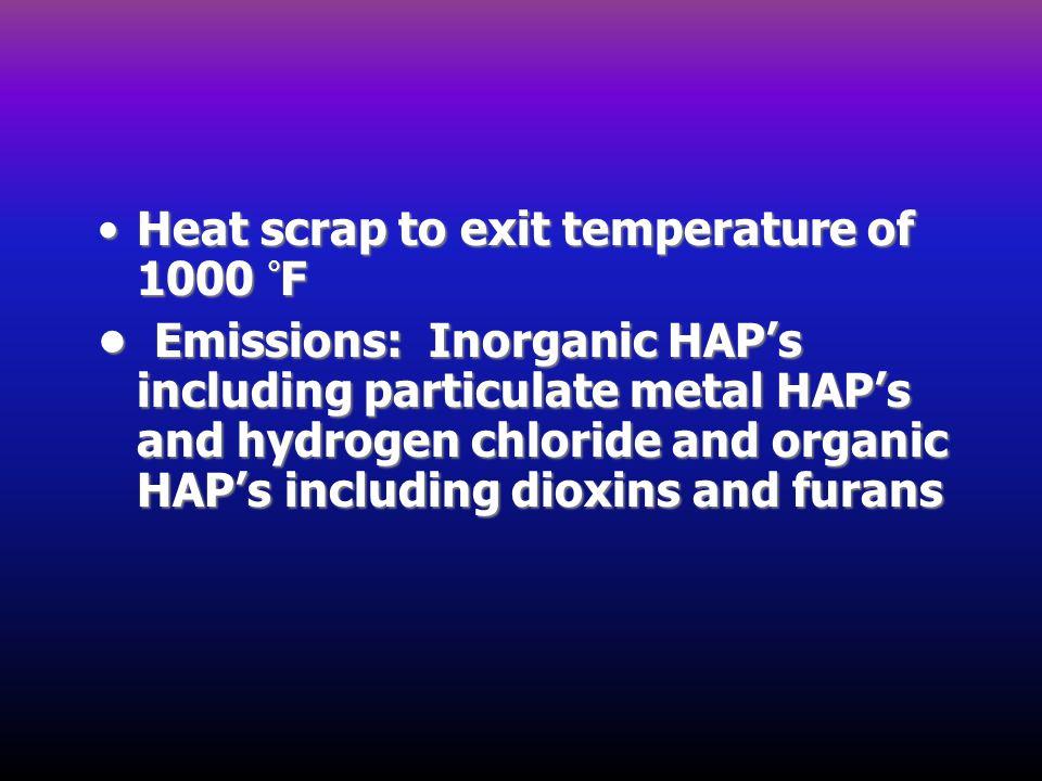 Heat scrap to exit temperature of 1000 °F