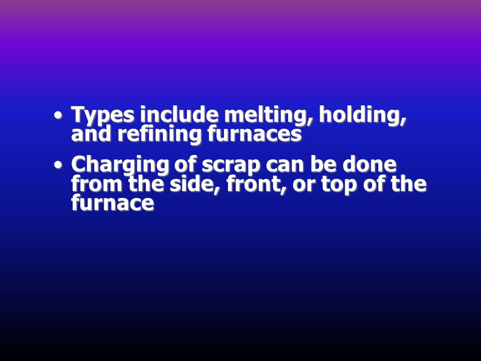 Types include melting, holding, and refining furnaces
