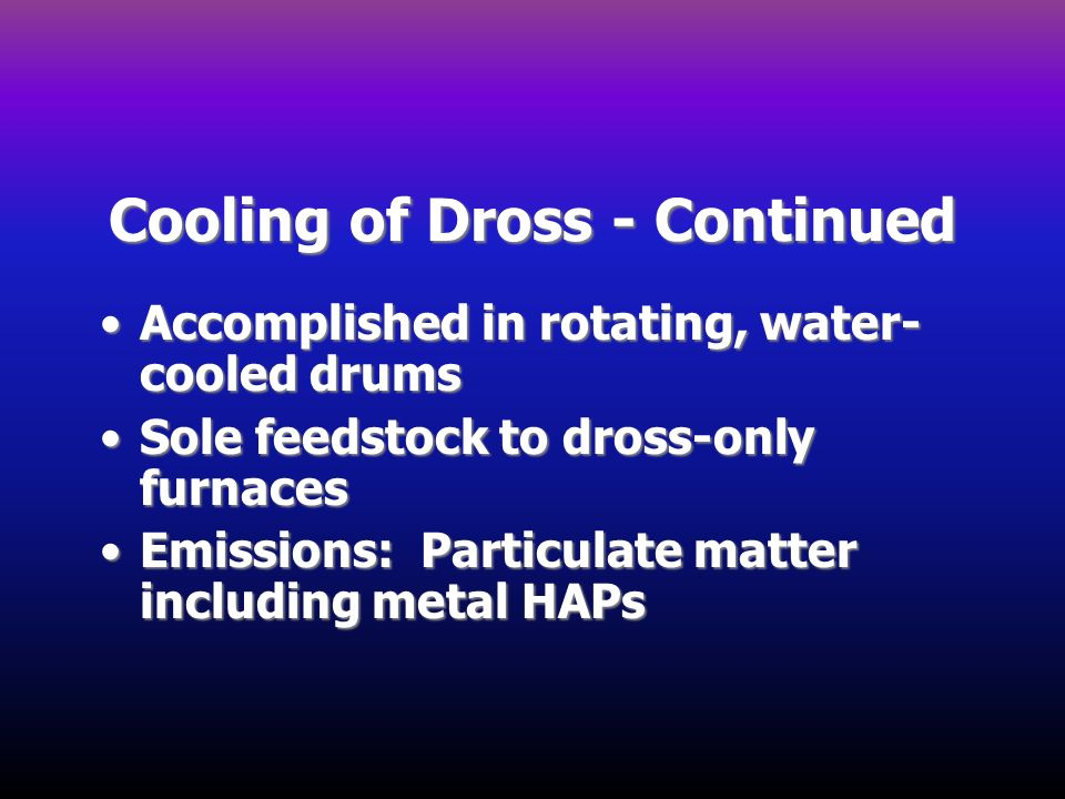 Cooling of Dross - Continued