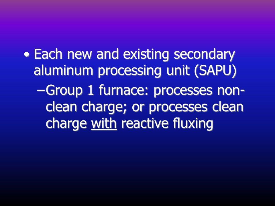 Each new and existing secondary aluminum processing unit (SAPU)