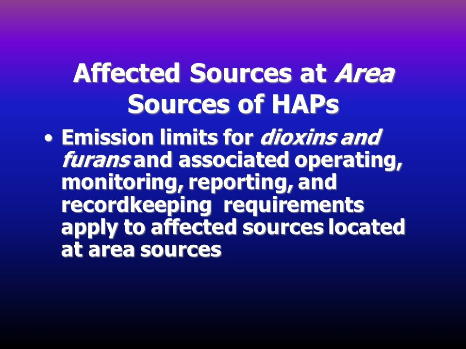 Affected Sources at Area Sources of HAPs