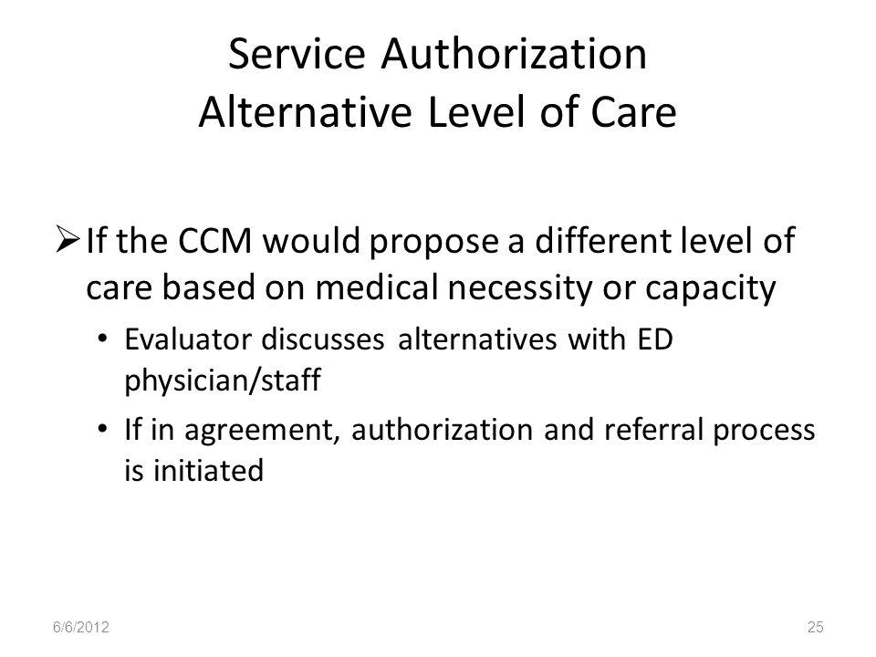 Service Authorization Alternative Level of Care