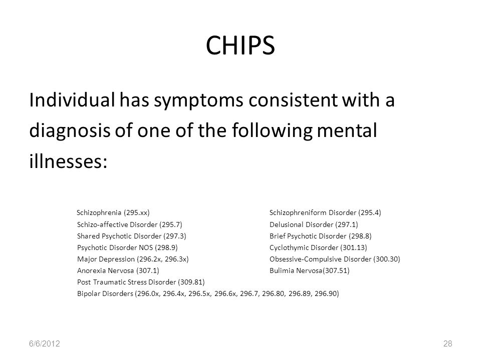 CHIPS Individual has symptoms consistent with a