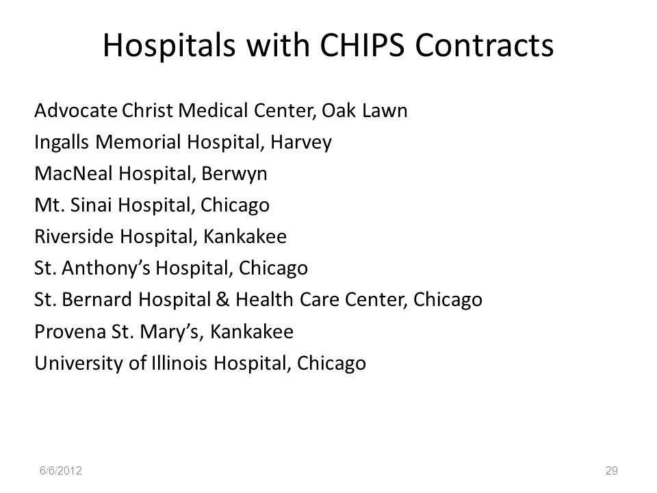 Hospitals with CHIPS Contracts