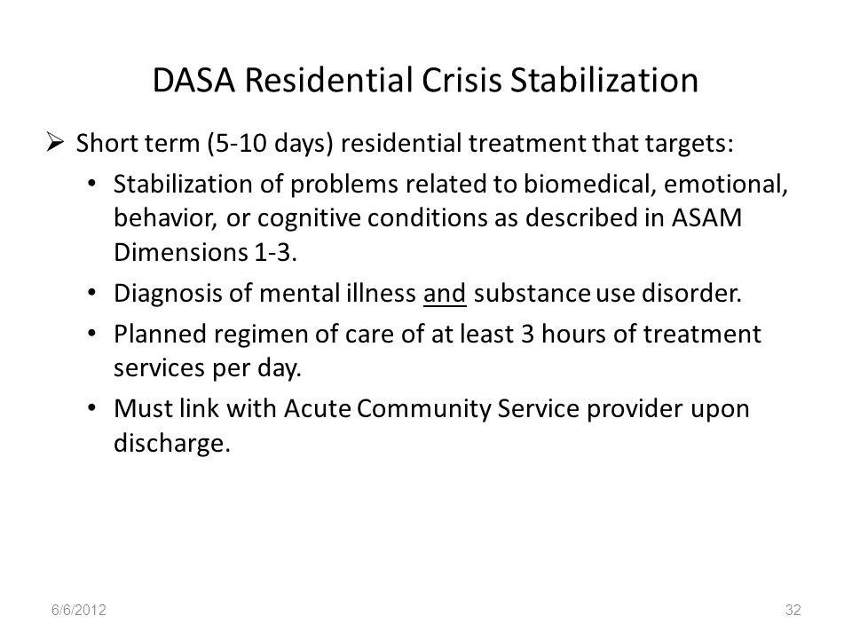 DASA Residential Crisis Stabilization
