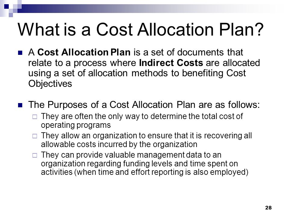 What is a Cost Allocation Plan