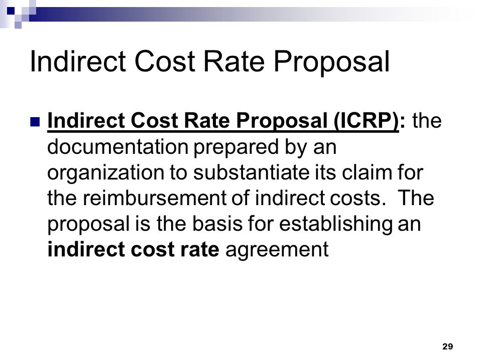 Indirect Cost Rate Proposal