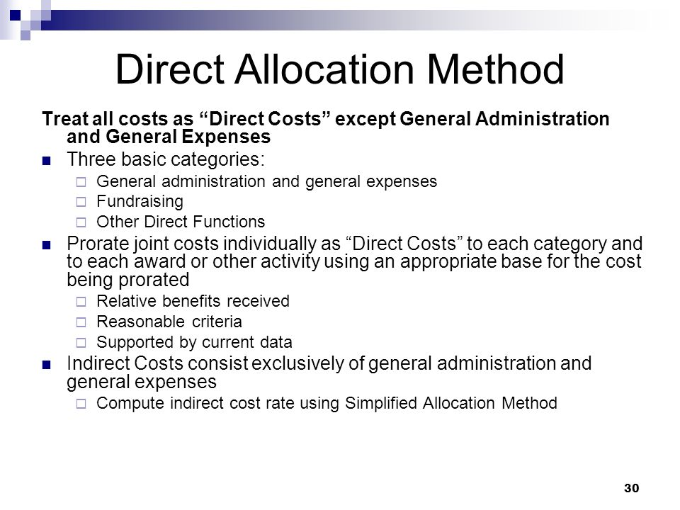 Direct Allocation Method