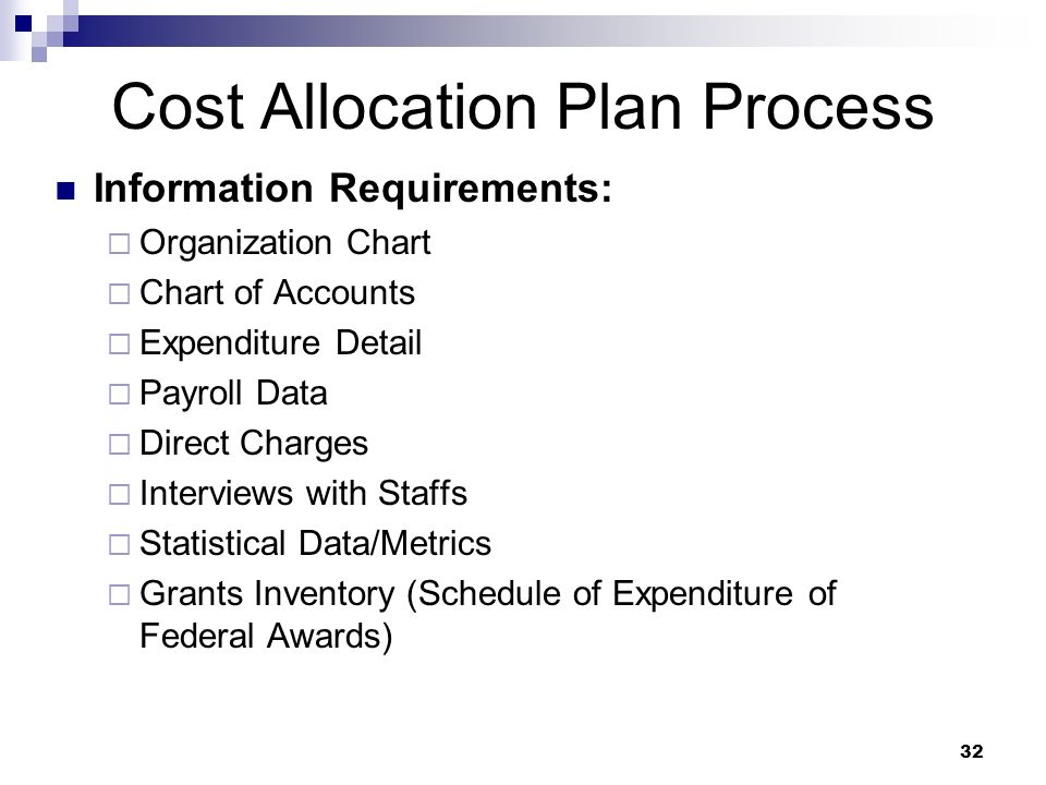 Cost Allocation Plan Process