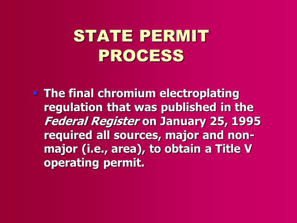STATE PERMIT PROCESS