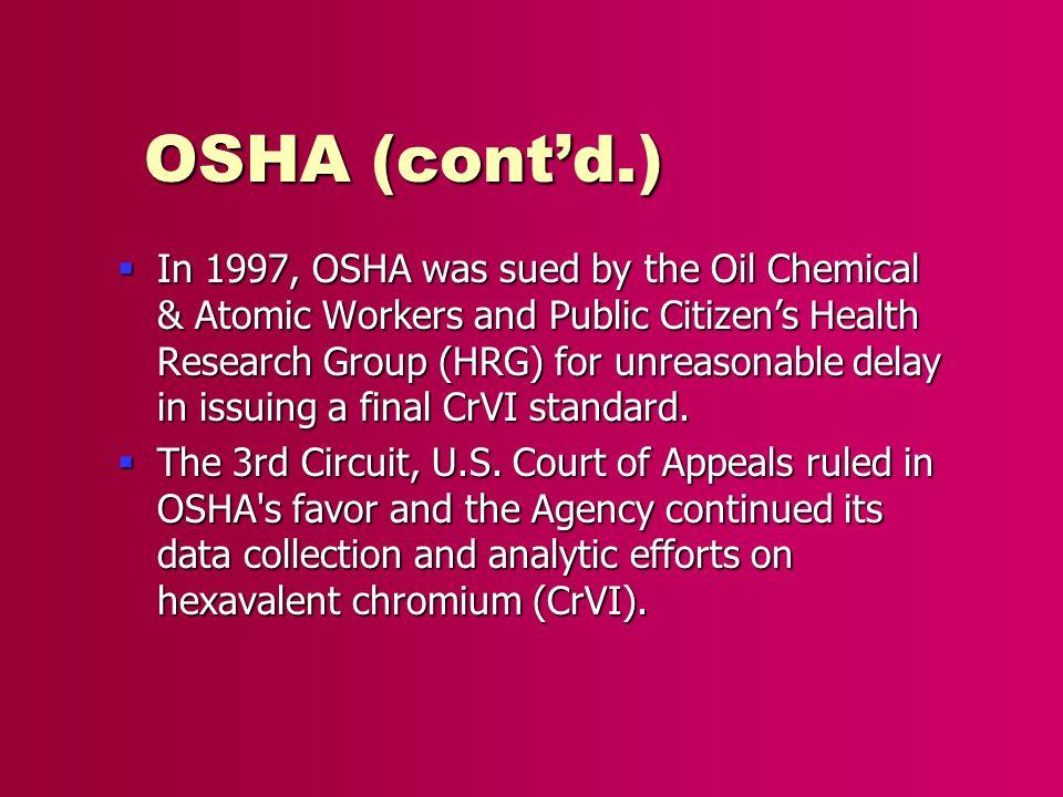 OSHA (cont'd.)