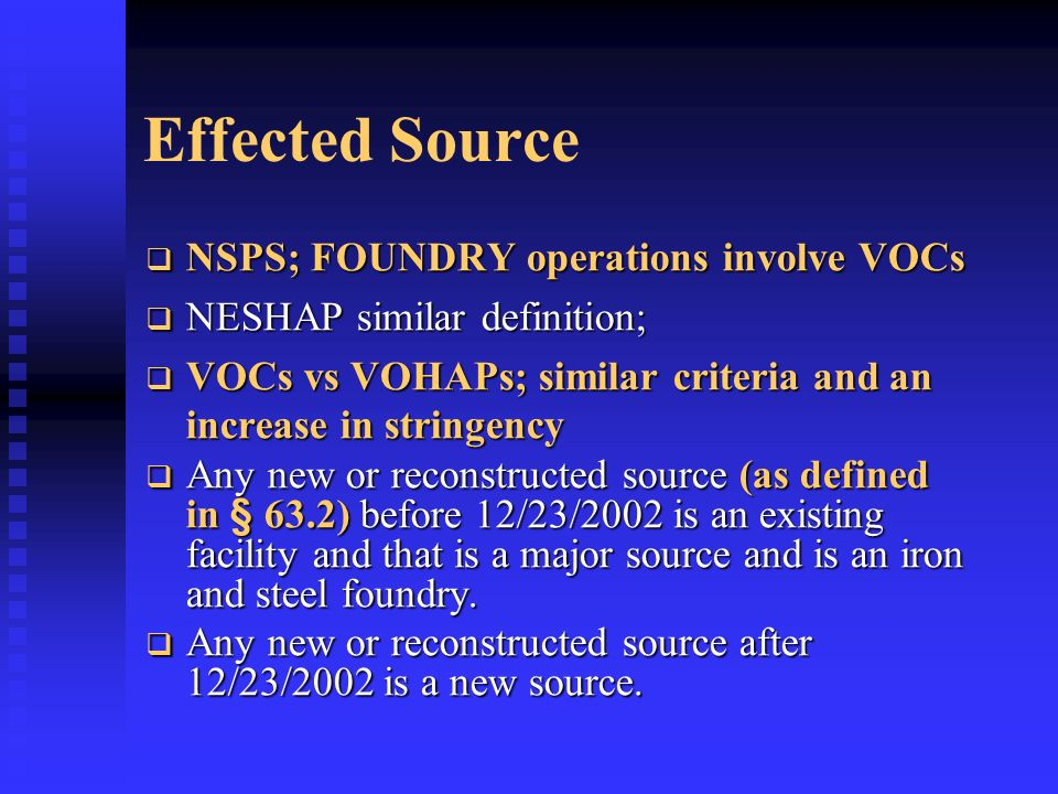 Effected Source NSPS; FOUNDRY operations involve VOCs