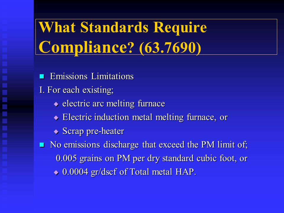 What Standards Require Compliance (63.7690)
