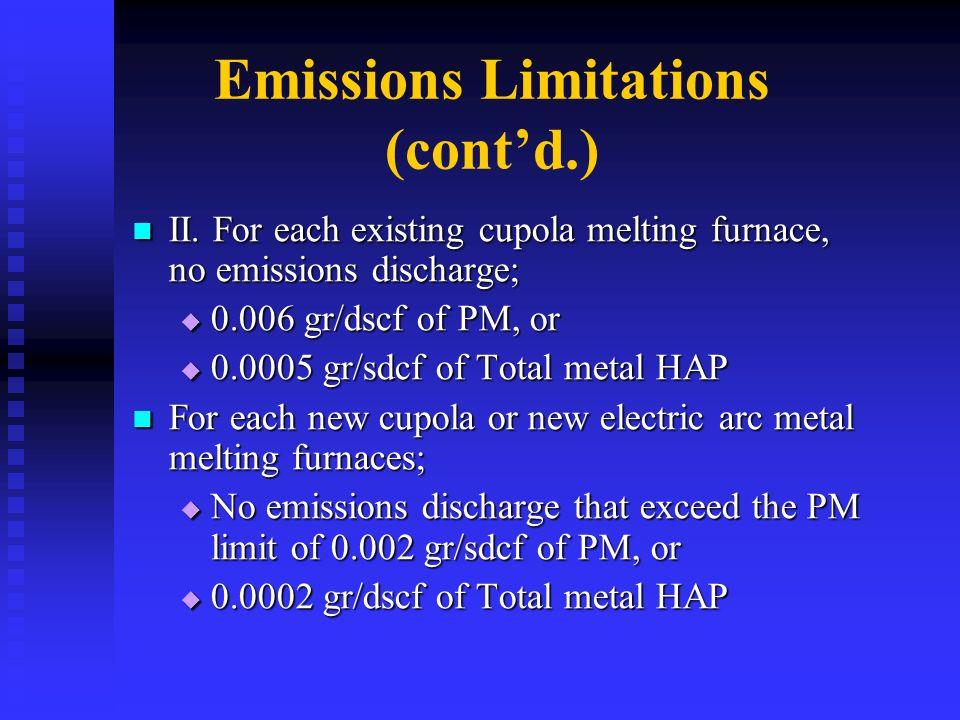 Emissions Limitations (cont'd.)