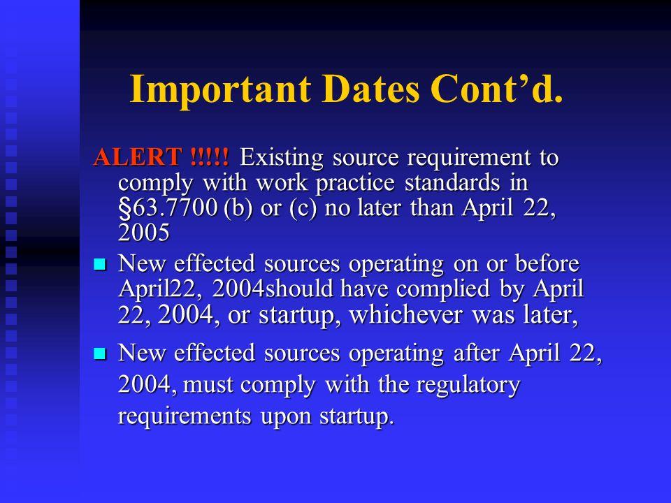 Important Dates Cont'd.