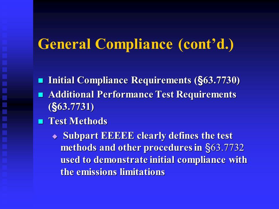General Compliance (cont'd.)