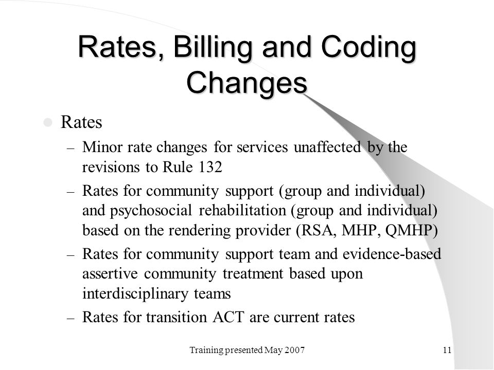 Rates, Billing and Coding Changes