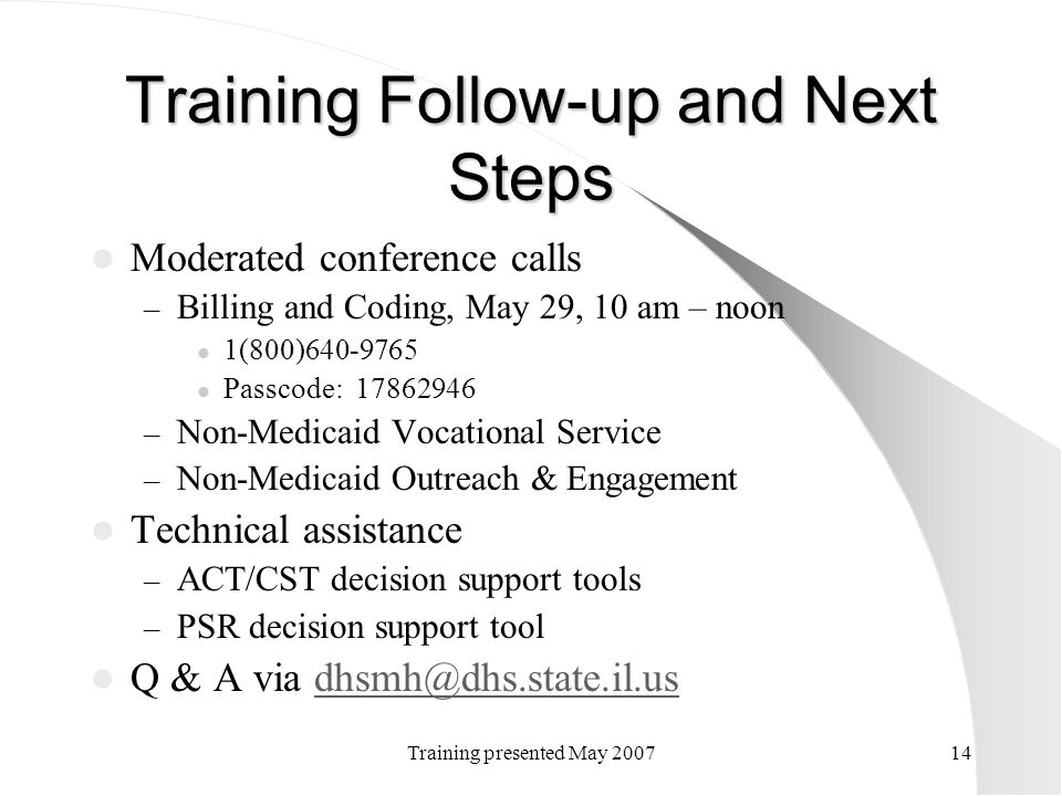 Training Follow-up and Next Steps