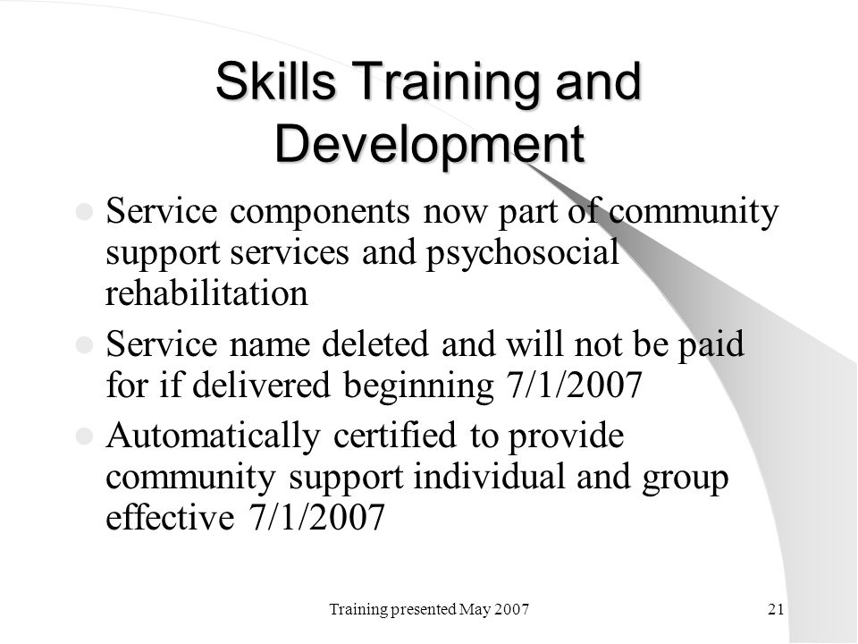 Skills Training and Development